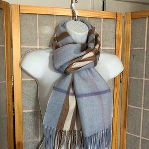 Burberry Cashmere Check Scarf Blue